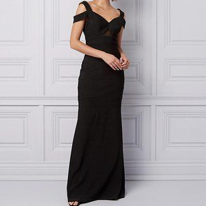 NWT Le Chateau Cold Shoulder Fit & Flare Black Gown XXL
